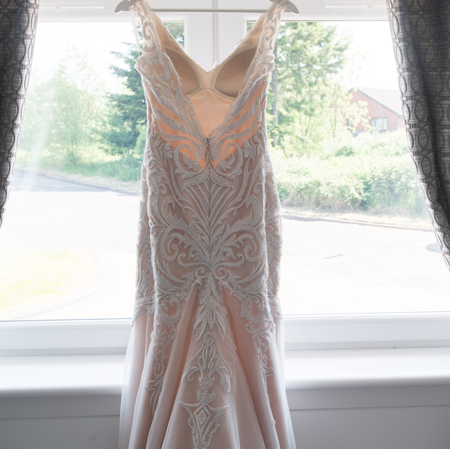 Blush Wedding dress with beaded embroidery detailing.