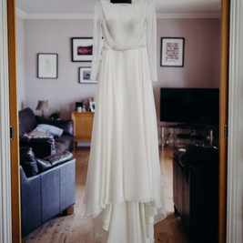 Bespoke Wedding Dress with sleeves - Floaty silk touch chiffon with a sparkly beaded bodice.