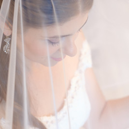 Bespoke Wedding Gown Corded lace with Swarovski crystal details and mantilla lace veil.