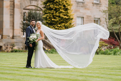 Bespoke Cathedral length veil with beaded Lace Trim