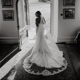 Bespoke Bridal Gown - Beaded embroidered lace fishtail with soft floaty tulle skirt and beaded cathedral veil.