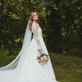 Bespoke Wedding Dress - Beaded corded lace bodice and sleeves with soft satin full skirt.