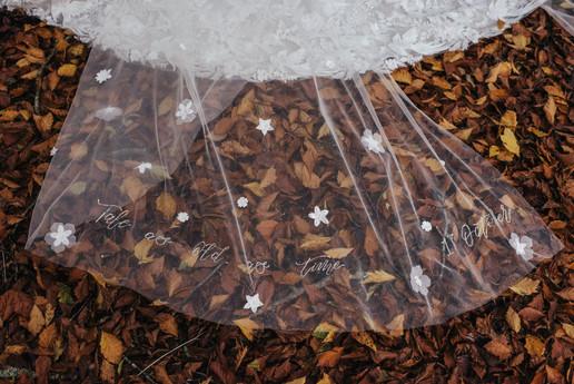 Bespoke Bridal Cape with Swarovski Crystal Calligraphy Personalisation