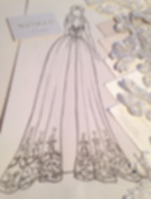Wedding dress sketch and sampling. Fashion Illustration by NutMeg Couture Bespoke Bridal