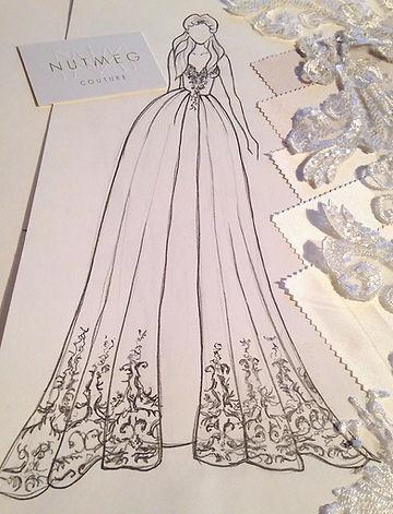 Wedding dress sketch and sampling. Fashion Illustration by NutMeg Couture Bespoke Bridal