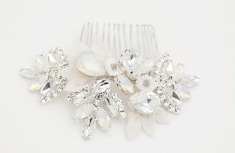 Swarovski Crystal & Silk Comb