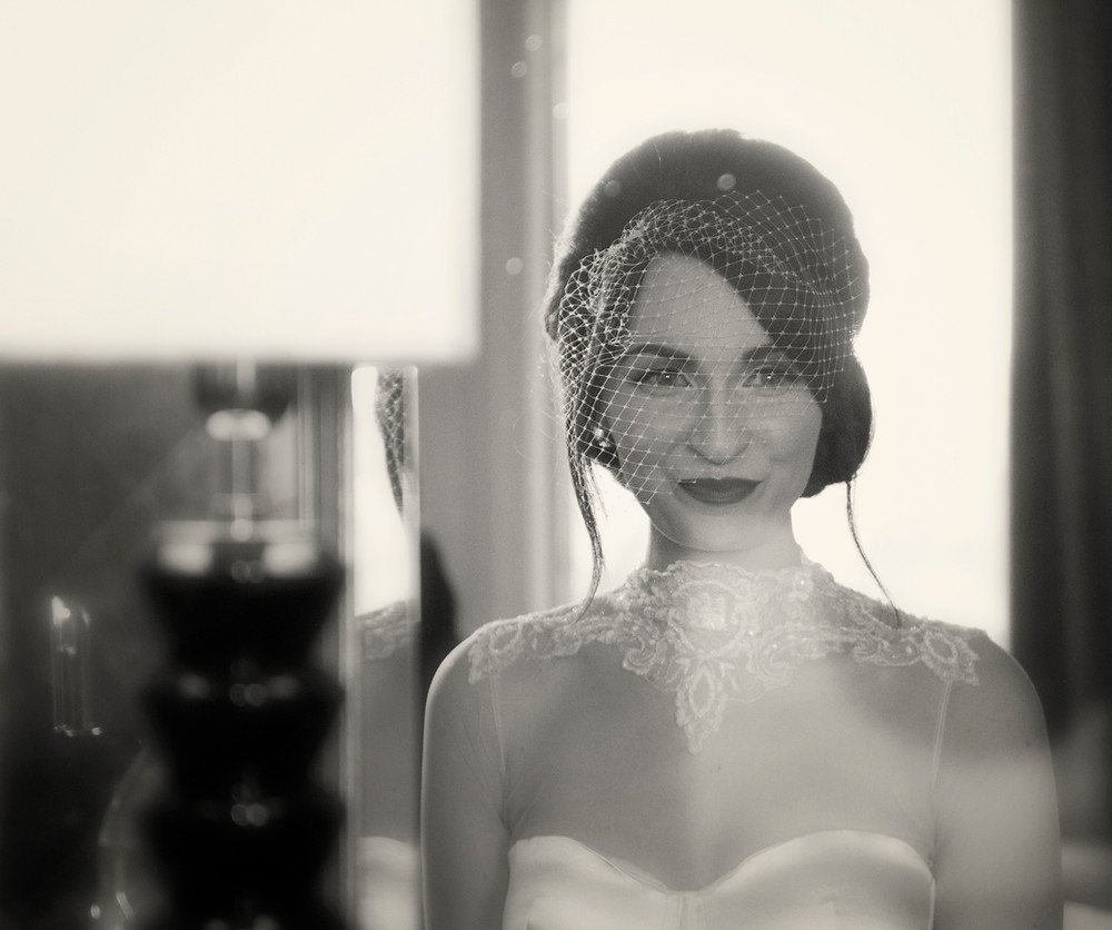 Headshot, NutMeg Wedding Dress styled with Birdcage Veil