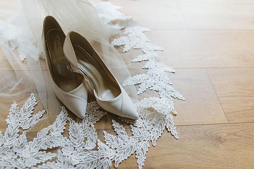 Bride Shoes on Bespoke Lace Leaf Cape