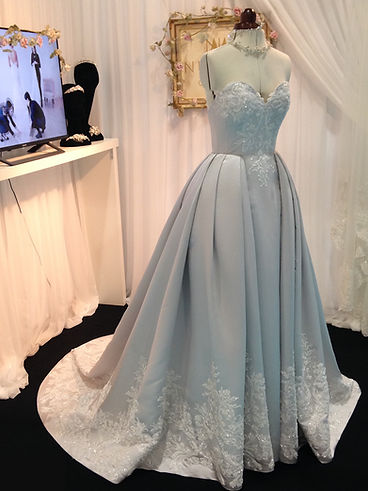 Oyster Couture Wedding Dress by NutMeg Couture. Full over skirt with sparkly lace and pleated waist.