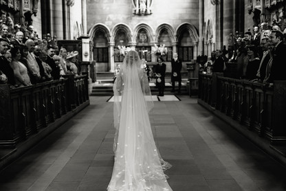 Cathedral Length Mantilla Veil with Purple & Ivory floral details.