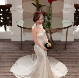 Custom Wedding Dress - Silk satin gown with beaded lace collar and cuffs.