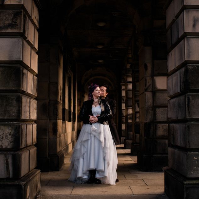 Bespoke Wedding Dress - Blue silver gown with geometric lace & sparkle tulle layers.