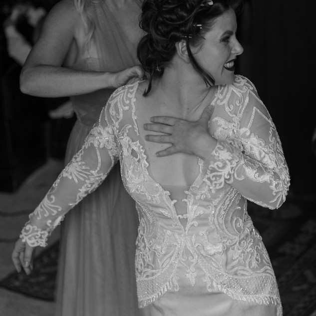 Bespoke Bridal Dress - Beaded embroidered lace on a champagne satin fishtail gown.