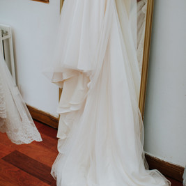 Bespoke Bridal Gown - Beaded embroidered lace fishtail with soft floaty tulle skirt.