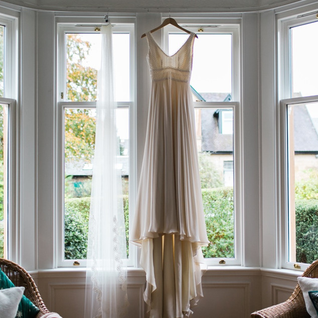 Bespoke Bridal gown - Backless gown with a silk chiffon skirt with guipure lace bodice.