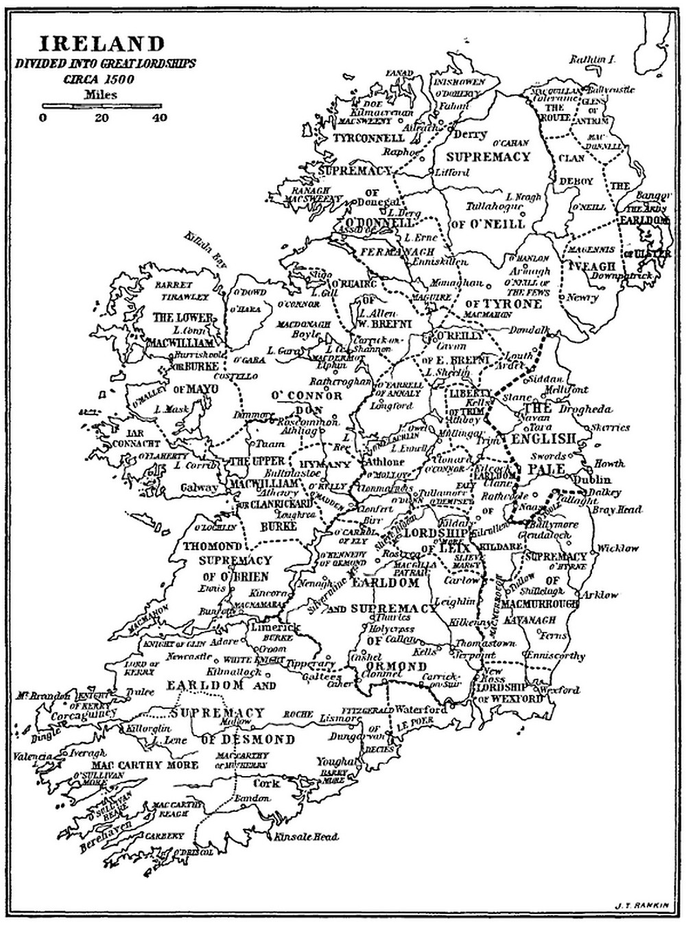 Ireland Divided into Great Lordships c. 1500 Apdx - Curtis, Medieval Ireland.jpg
