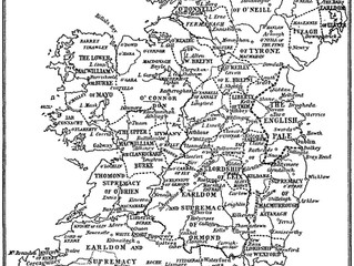 Old Map of Ireland showing its Great Lordships c.1500