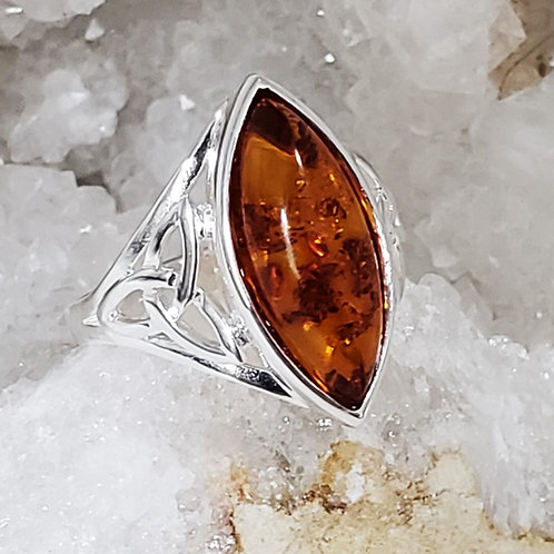 Saoirse Amber Marquis Ring