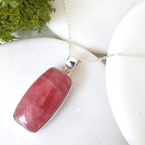 Rosa Rhodochrosite Pendant & Chain