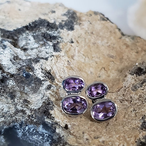Reece Stud Earrings - Amethyst