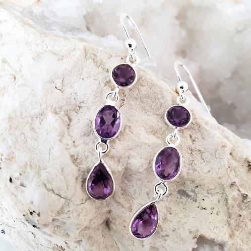 Indira Earrings - Amethyst