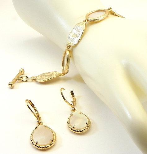 Italian Designer Inspired  Gold-Tone Faux MOP Bracelet-Earring Set