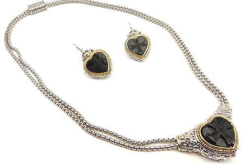 Designer Inspired 2-Tone Black Heart Ctr Double Row Chain Necklace-Earr