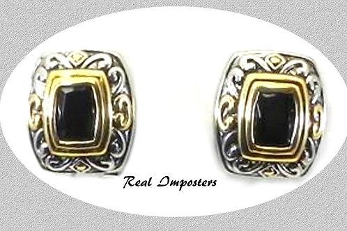 Delightful Bali Designer Inspired 2-tone Black CZ Earring Leverback