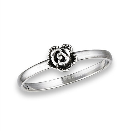 Sterling Silver Delicate-Dainty Small Rose Ring Size 7