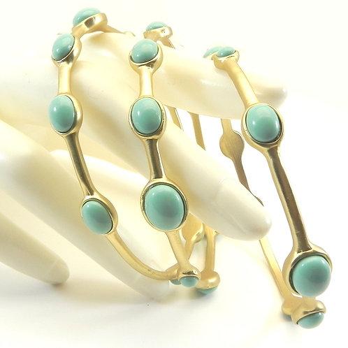 Designer Inspired Gold-tone Faux Turquois Stations Bangle Bracelet Set