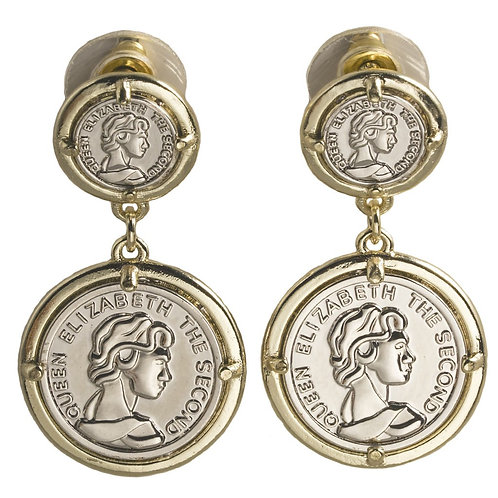 International Designer Inspired 2-Tone Coin Dangle Earring