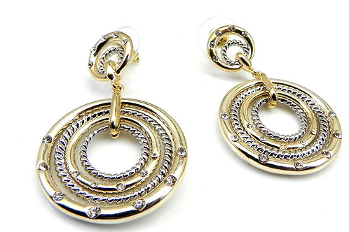 Cable Designer Inspired 2-tone & Austrian Crystal Dangle-Drop Earring