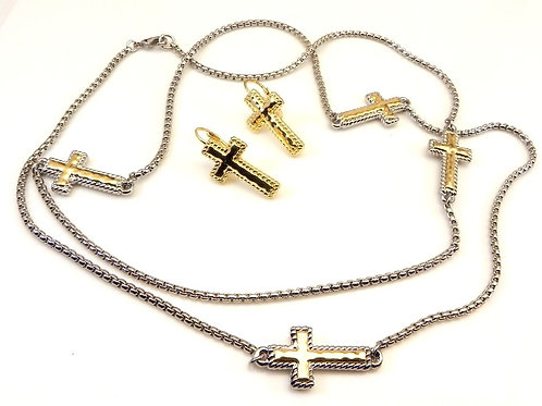 """Bali Designer Inspired 2-Tone Religious Cross Sections 36"""" Necklace & Earring"""