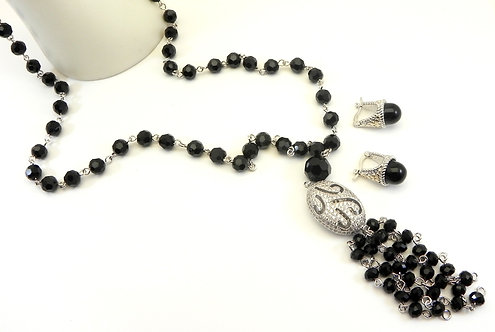 """33"""" Black-Crystal Beads Silver-Tone Micro Pave Crystal Tassel Necklace-Earring"""