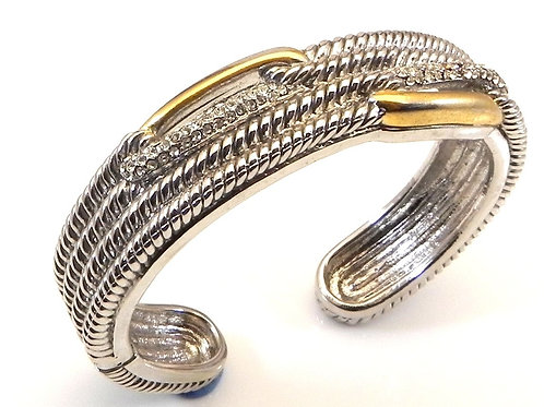 Statement Cable Designer Inspired 2-Tone & Pave Crystals Bracelet Cuff