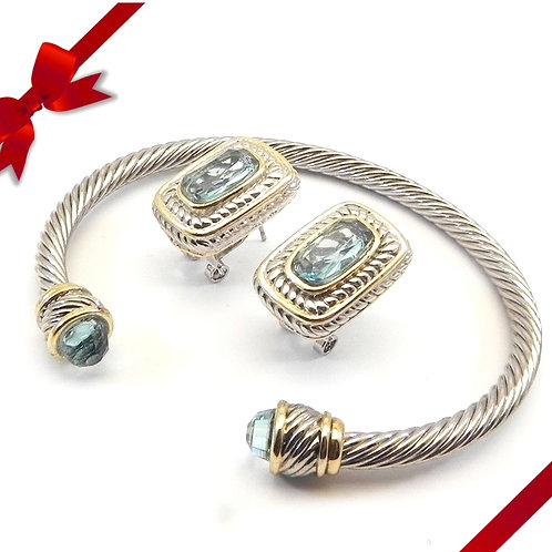 Cable Designer Inspired 2-Tone Aqua CZ  Bracelet & Aqua CZ  Earring