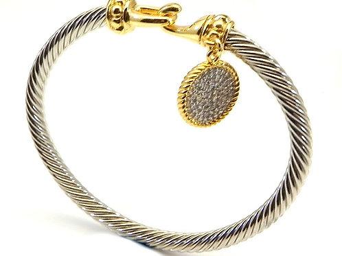 Cable Designer Inspired  2-Tone Hook & Pave Circle Dangle Bracelet