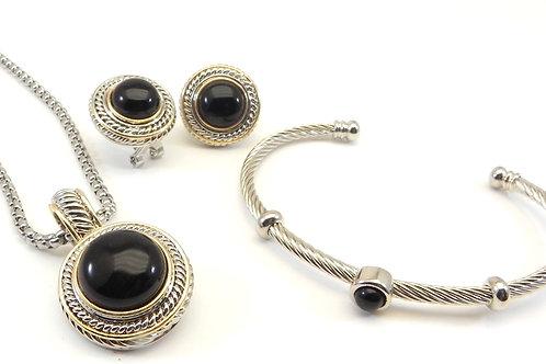 """Designer Inspired 2-Tone Simulated Onyx Pendant- Earring-18"""" Chain & Bracelet"""