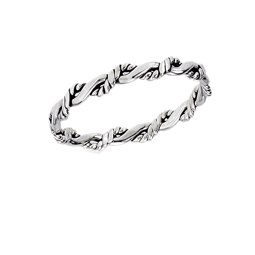 Sterling Silver Tiny-Petite Interwoven Twist Ring Size 7