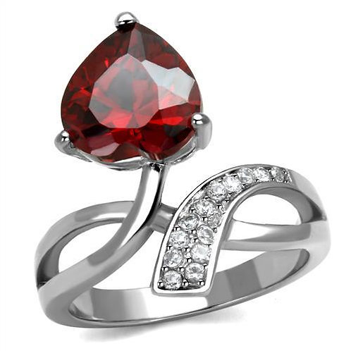 Stainless Steel  Simulated Garnet Heart CZ & Pave Accents Ring Size 5-10