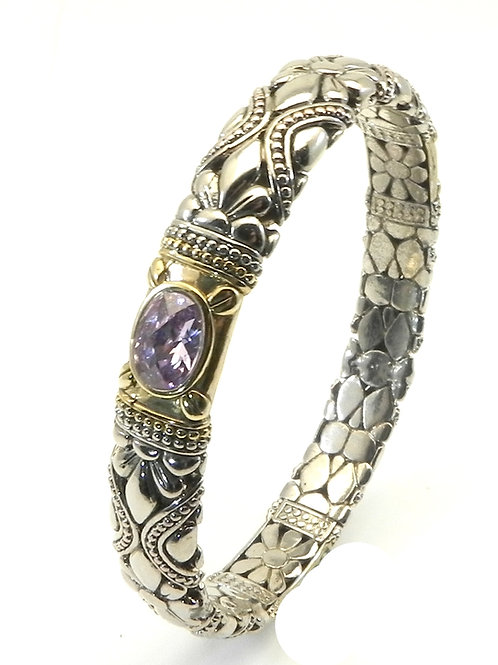 Bali Designer Inspired 2-Tone Bangle Bracelet with CZ