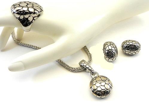 Bali Designer Inspired Silver-Tone Textured Pendant/Chain/Earring/Ring Set