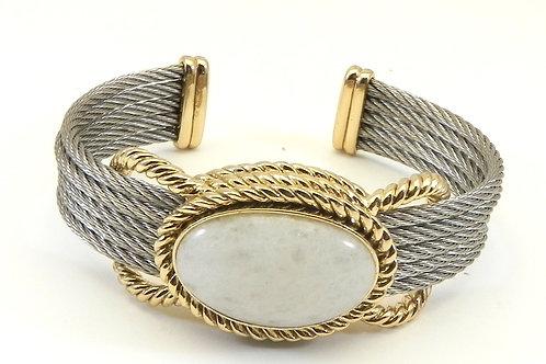 Classic Designer Inspired  2-Tone Cuff  Simulated Opaline Crystal Bracelet Cuff