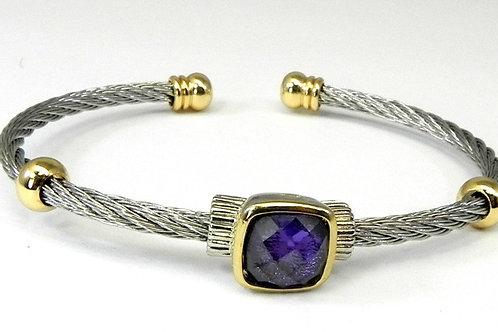 Cable Designer inspired 2-Tone & Amethyst CZ Bracelet-Cuff