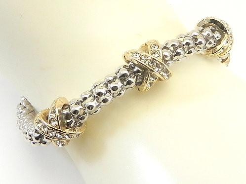 Classic Cable Designer Inspired 2-Tone Caviar Bracelet