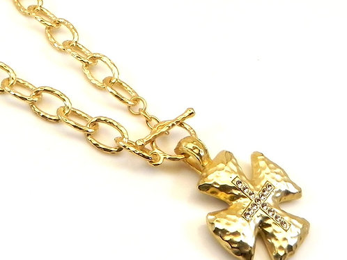 "Italian Designer Inspired Matte Gold Tone Maltese Cross & Crystals 16"" Necklace"