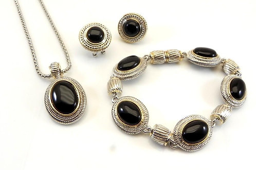 Cable Designer Inspired 2-Tone Oval Black Pendant, Chain, Bracelet,Earring Set