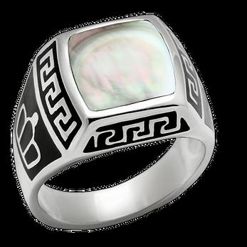 Stainless Steel Men's Ring Mother Of Pearl Greek Key Celtic Inspired Size 8-13