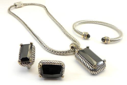 """Cable Designer Inspired 2-Tone Black CZ Pendant- Earring-18"""" Chain-Bracelet Set"""