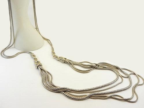 Striking Designer Inspired 2-Tone Multi Strand  44' long Graduated Necklace